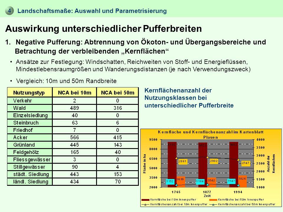 4 Auswirkung unterschiedlicher Pufferbreiten Landschaftsmaße: Auswahl und Parametrisierung 1. Negative Pufferung: Abtrennung von Ökoton- und Übergangs