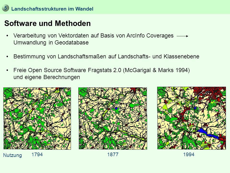 Software und Methoden Landschaftsstrukturen im Wandel Verarbeitung von Vektordaten auf Basis von ArcInfo Coverages Umwandlung in Geodatabase Bestimmun