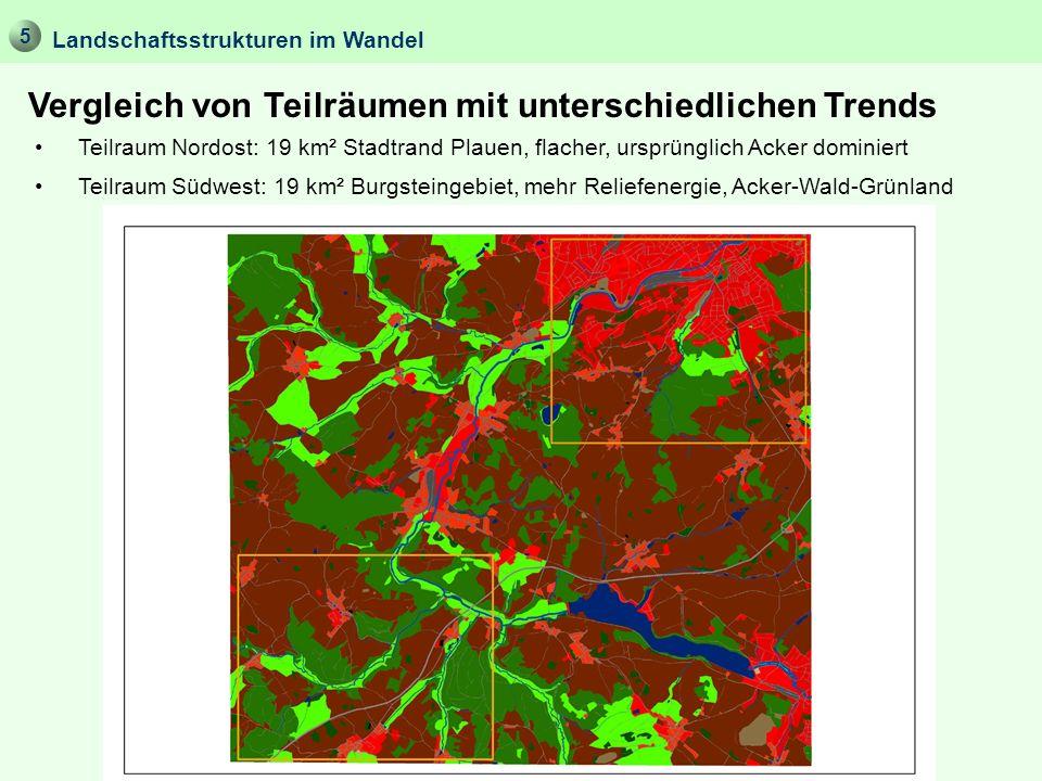 5 Vergleich von Teilräumen mit unterschiedlichen Trends Landschaftsstrukturen im Wandel Teilraum Nordost: 19 km² Stadtrand Plauen, flacher, ursprüngli