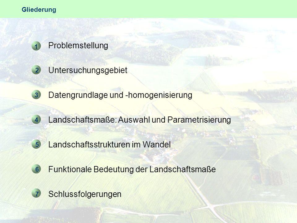 Problemstellung Untersuchungsgebiet Datengrundlage und -homogenisierung Landschaftsmaße: Auswahl und Parametrisierung Landschaftsstrukturen im Wandel