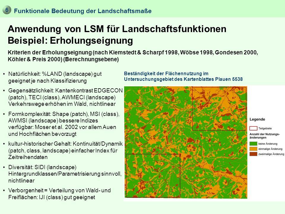 Anwendung von LSM für Landschaftsfunktionen Beispiel: Erholungseignung Kriterien der Erholungseignung (nach Kiemstedt & Scharpf 1998, Wöbse 1998, Gond