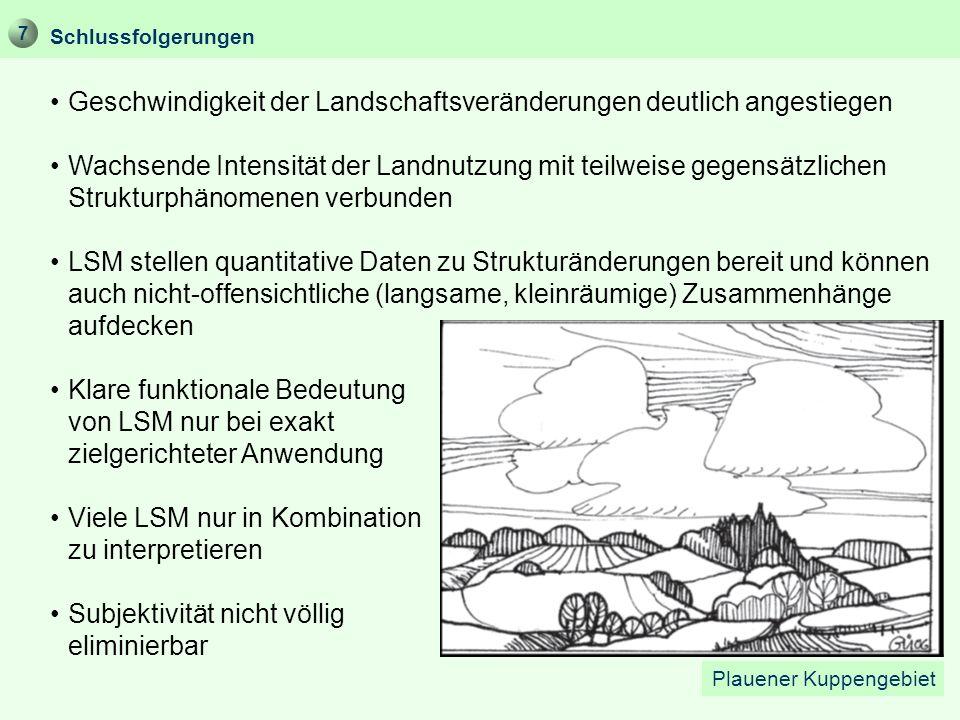 Schlussfolgerungen Geschwindigkeit der Landschaftsveränderungen deutlich angestiegen Wachsende Intensität der Landnutzung mit teilweise gegensätzliche