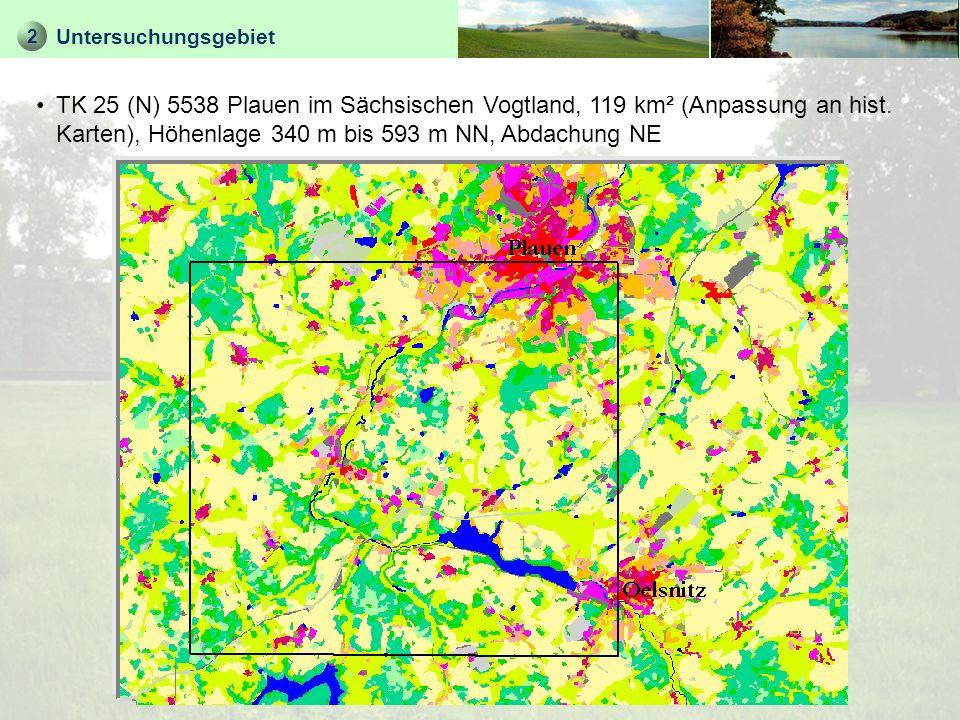 2 Untersuchungsgebiet Grenzraum zu Thüringen und Bayern Übergangsraum zwischen der kreisfreien Mittelstadt Plauen (NE) und ländlich geprägtem Burgsteingebiet (verfallene Wallfahrtskirchen im SW) Leitlinien: Tal der Weißen Elster mit Talsperre Pirk, Bahnlinie Plauen – Oelsnitz, BAB 72 / BS 173 Plauen – Hof Schiefergesteins-Hügelgebiet mit vulkanischen (Diabas-) Kuppen und tief (50 bis 100 m) eingeschnittenen Tälern Senke in der Mittelgebirgsschwelle, mit 7,5 bis 8°C Jahrestemperatur wärmebegünstigt, Jahresniederschlag 600 mm durch Leelage zu den Mittelgebirgen Nordosten: flachgründige Lössböden, agrarisch geprägt; nach Südwesten hin: zunehmender Waldanteil auf steinreicheren Verwitterungsböden, viele Teiche Historische Bedeutung: Handelsrouten durch Mittelgebirgs- schwelle, Bahnlinie Leipzig-Hof 1851, Talsperre Pirk 1935-38