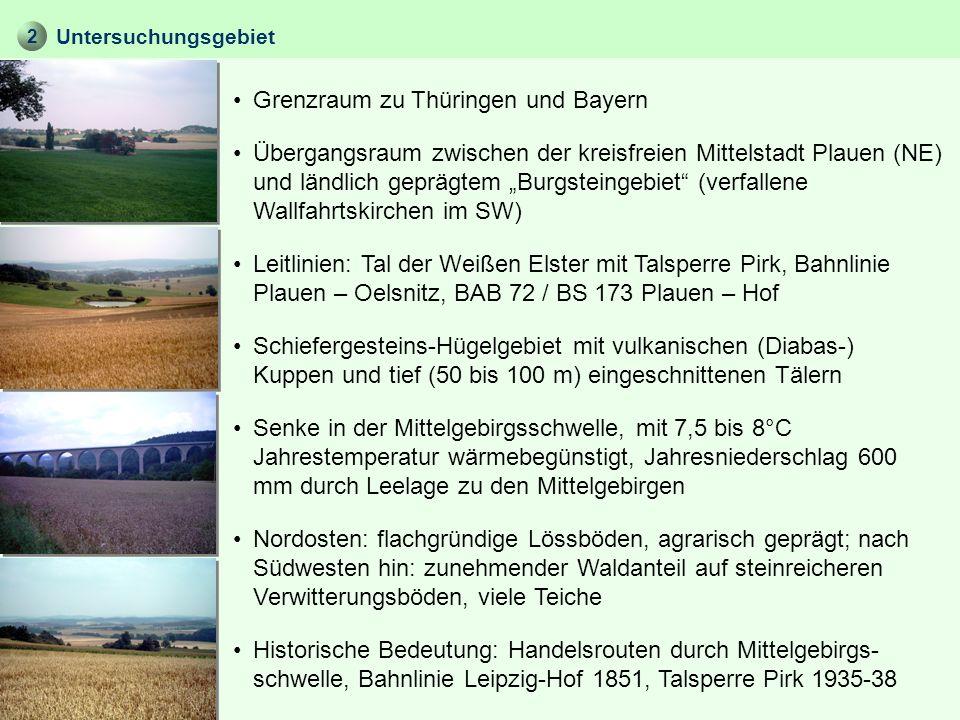 2 Untersuchungsgebiet Grenzraum zu Thüringen und Bayern Übergangsraum zwischen der kreisfreien Mittelstadt Plauen (NE) und ländlich geprägtem Burgstei
