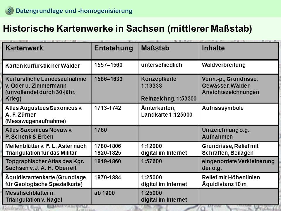 Ausgewertete Karten Datengrundlage und -homogenisierung 1.Meilenblätter 76-81 1:12000 von 1794-95 (Abbildung) Zeitraum: 200 Jahre mit vergleichbaren Zeitabstände zwischen Kartenaufnahmen 3 3.Topographische Karte (Normalausgabe) 5538 Plauen 1:25000 von 1994 2.Äquidistantenkarte 155 Section Kauschwitz 1:25000 von 1877