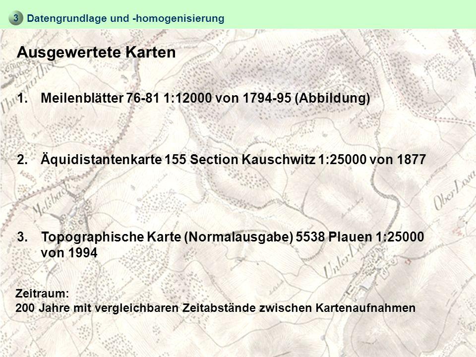 Ausgewertete Karten Datengrundlage und -homogenisierung 1.Meilenblätter 76-81 1:12000 von 1794-95 (Abbildung) Zeitraum: 200 Jahre mit vergleichbaren Z