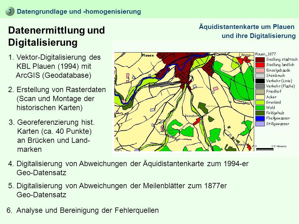 Datenermittlung und Digitalisierung Datengrundlage und -homogenisierung 1. Vektor-Digitalisierung des KBL Plauen (1994) mit ArcGIS (Geodatabase) 3 3.