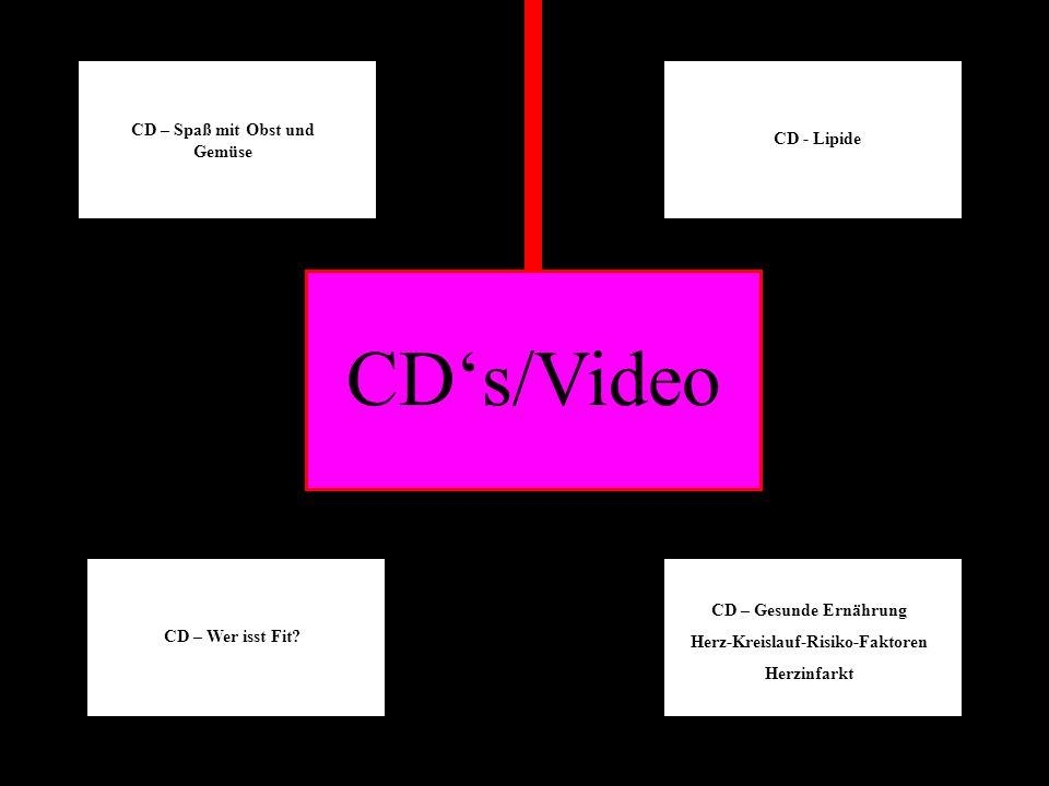 CDs/Video CD – Spaß mit Obst und Gemüse CD – Wer isst Fit? CD - Lipide CD – Gesunde Ernährung Herz-Kreislauf-Risiko-Faktoren Herzinfarkt