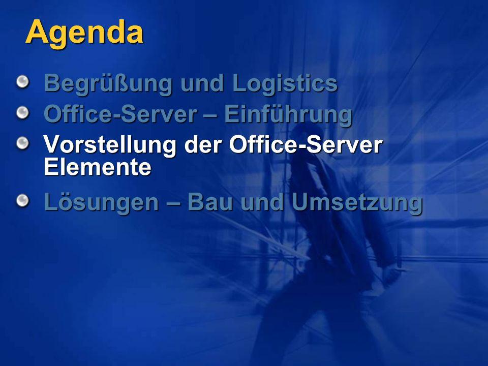 Agenda Begrüßung und Logistics Office-Server – Einführung Vorstellung der Office-Server Elemente Lösungen – Bau und Umsetzung