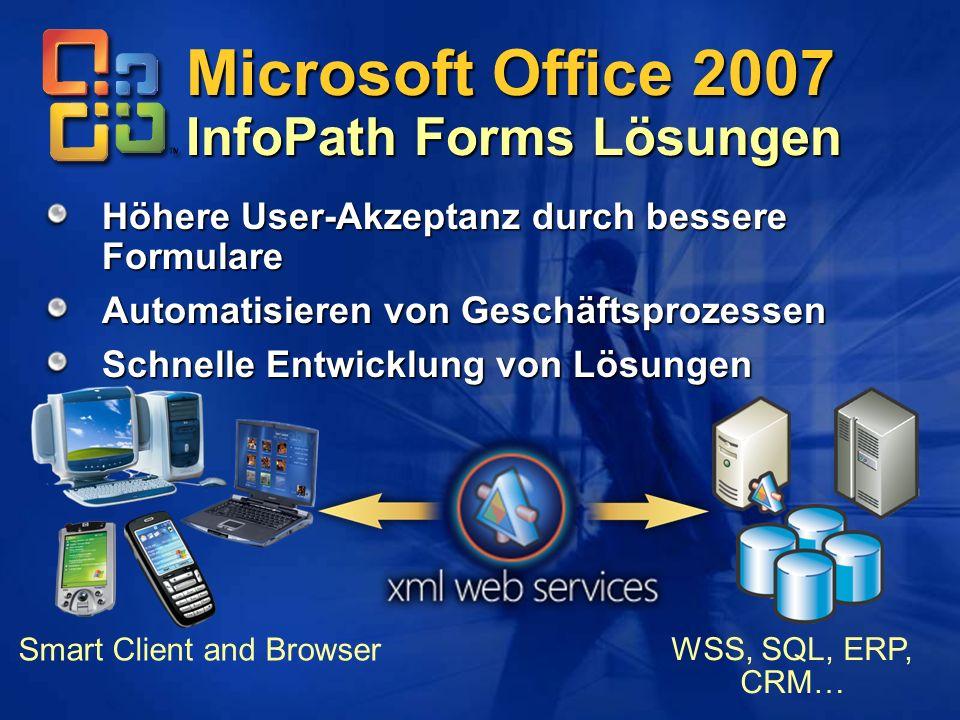 Höhere User-Akzeptanz durch bessere Formulare Automatisieren von Geschäftsprozessen Schnelle Entwicklung von Lösungen Microsoft Office 2007 InfoPath F