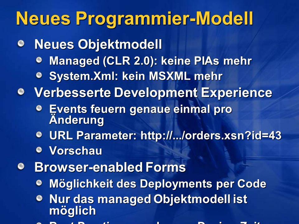Neues Programmier-Modell Neues Objektmodell Managed (CLR 2.0): keine PIAs mehr System.Xml: kein MSXML mehr Verbesserte Development Experience Events f
