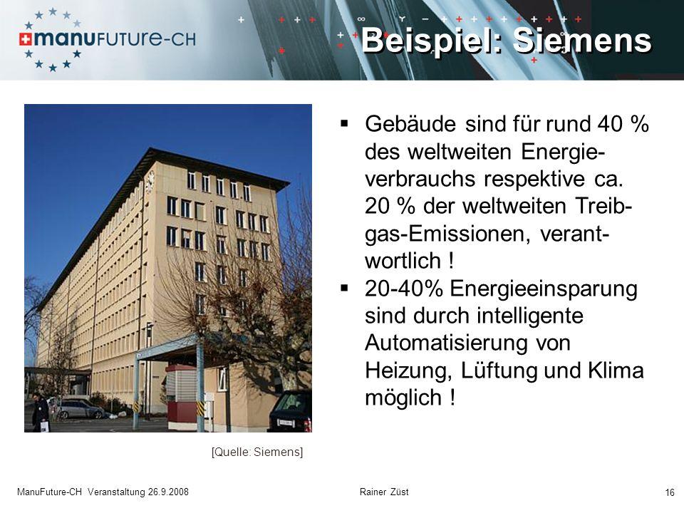 Beispiel: Siemens 16 ManuFuture-CH Veranstaltung 26.9.2008 Rainer Züst Gebäude sind für rund 40 % des weltweiten Energie- verbrauchs respektive ca. 20