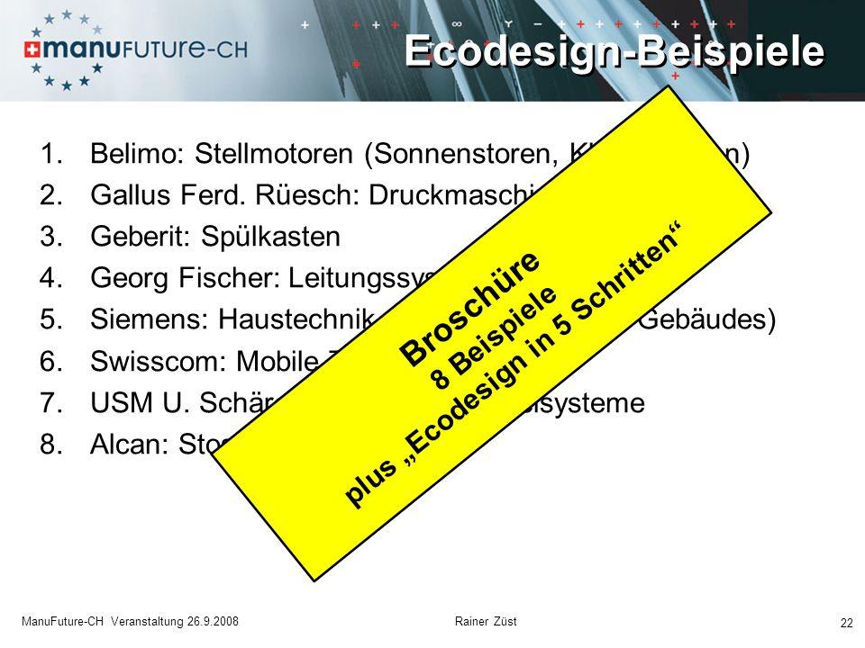 Ecodesign-Beispiele 22 ManuFuture-CH Veranstaltung 26.9.2008 Rainer Züst 1.Belimo: Stellmotoren (Sonnenstoren, Klimaanlagen) 2.Gallus Ferd. Rüesch: Dr