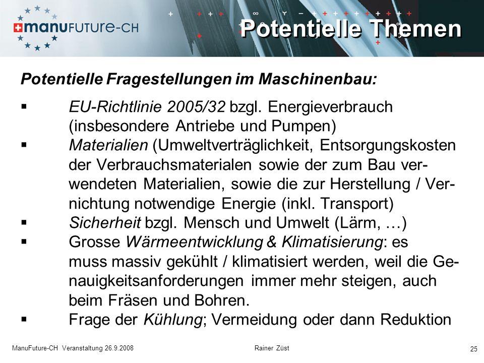 25 ManuFuture-CH Veranstaltung 26.9.2008 Rainer Züst Potentielle Fragestellungen im Maschinenbau: EU-Richtlinie 2005/32 bzgl. Energieverbrauch (insbes