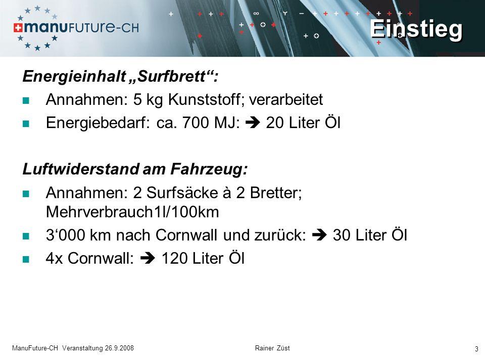 Einstieg 3 ManuFuture-CH Veranstaltung 26.9.2008 Rainer Züst Energieinhalt Surfbrett: Annahmen: 5 kg Kunststoff; verarbeitet Energiebedarf: ca. 700 MJ