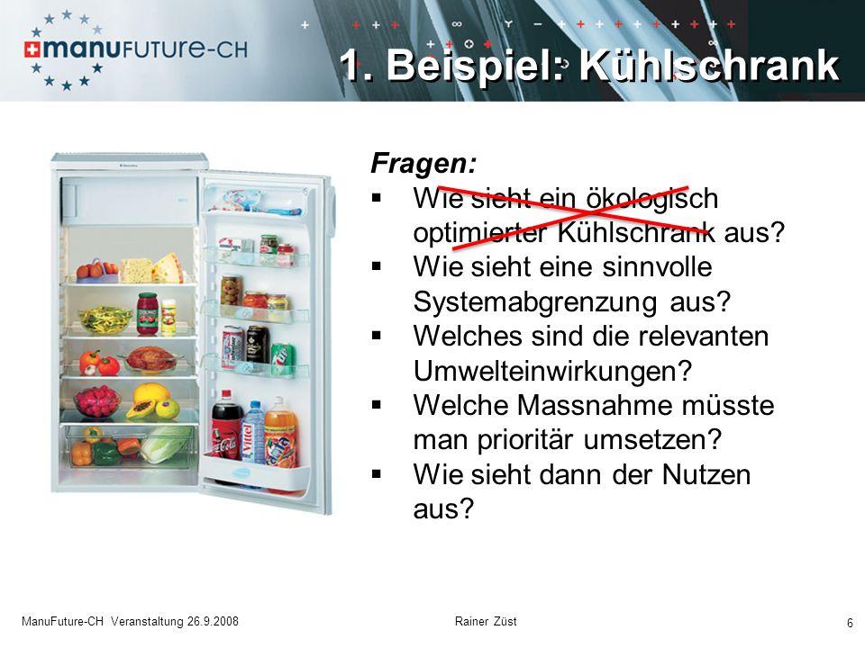 6 ManuFuture-CH Veranstaltung 26.9.2008 Rainer Züst Fragen: Wie sieht ein ökologisch optimierter Kühlschrank aus? Wie sieht eine sinnvolle Systemabgre