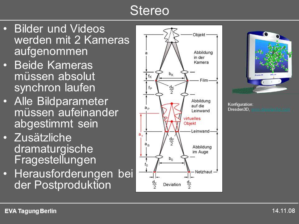 14.11.08 EVA Tagung Berlin Stereo Bilder und Videos werden mit 2 Kameras aufgenommen Beide Kameras müssen absolut synchron laufen Alle Bildparameter müssen aufeinander abgestimmt sein Zusätzliche dramaturgische Fragestellungen Herausforderungen bei der Postproduktion Konfiguration: Dresden3D, www.dresden3d.comwww.dresden3d.com