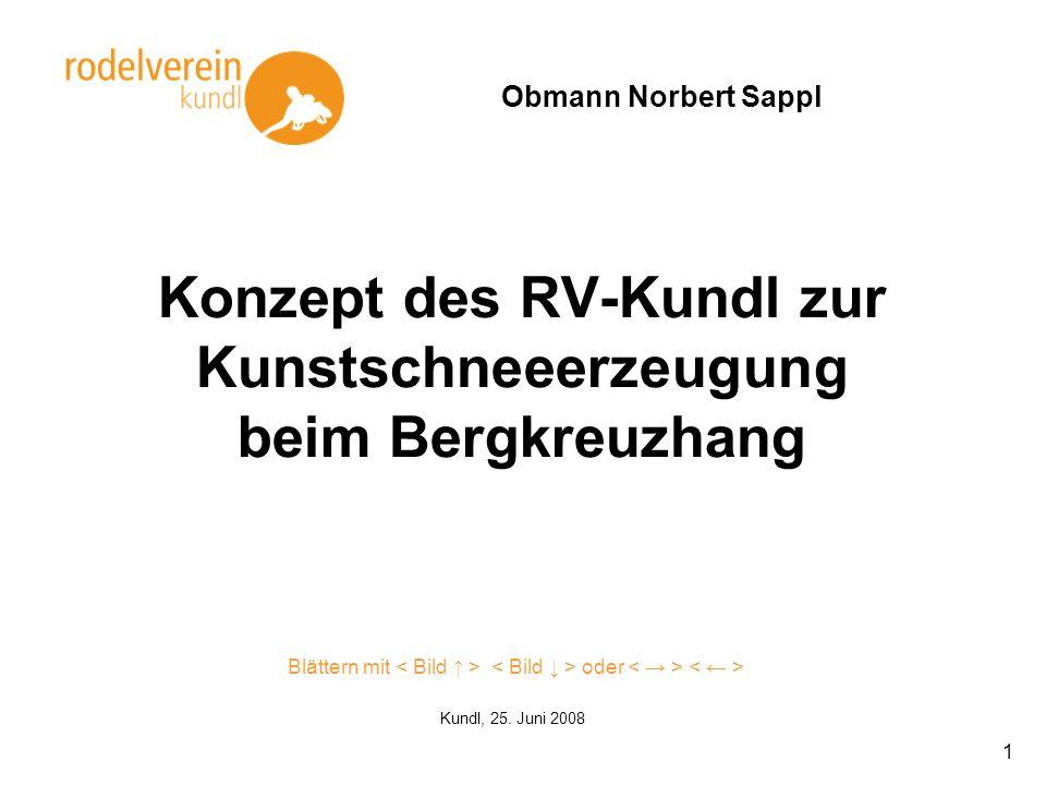 1 Konzept des RV-Kundl zur Kunstschneeerzeugung beim Bergkreuzhang Obmann Norbert Sappl Kundl, 25. Juni 2008 Blättern mit oder