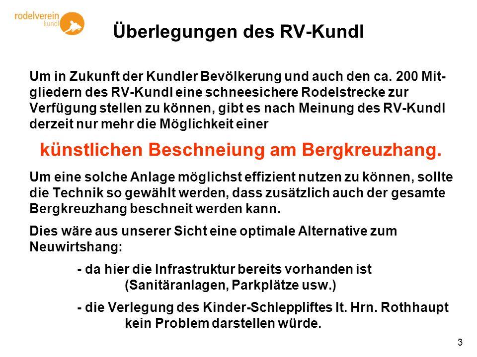 3 Überlegungen des RV-Kundl Um in Zukunft der Kundler Bevölkerung und auch den ca. 200 Mit- gliedern des RV-Kundl eine schneesichere Rodelstrecke zur