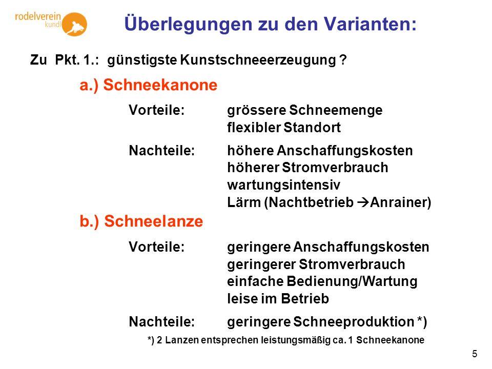 5 Überlegungen zu den Varianten: Zu Pkt. 1.: günstigste Kunstschneeerzeugung ? a.) Schneekanone Vorteile: grössere Schneemenge flexibler Standort Nach