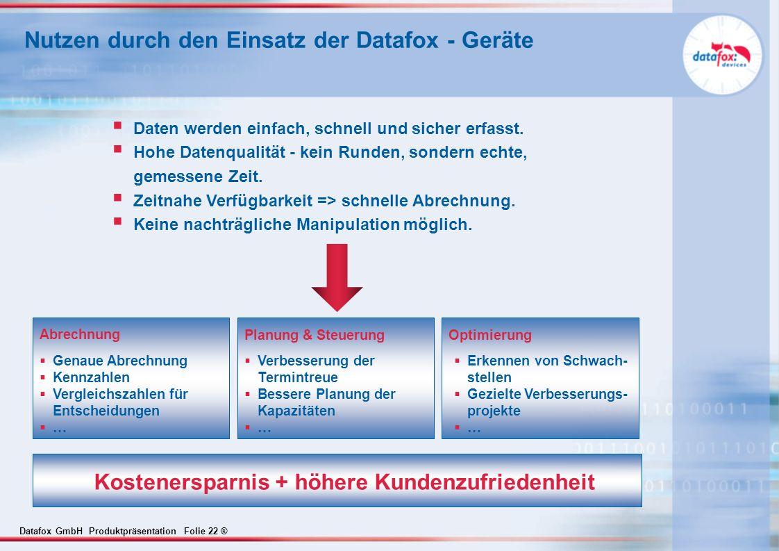 Datafox GmbH Produktpräsentation Folie 22 ® Nutzen durch den Einsatz der Datafox - Geräte Daten werden einfach, schnell und sicher erfasst. Hohe Daten