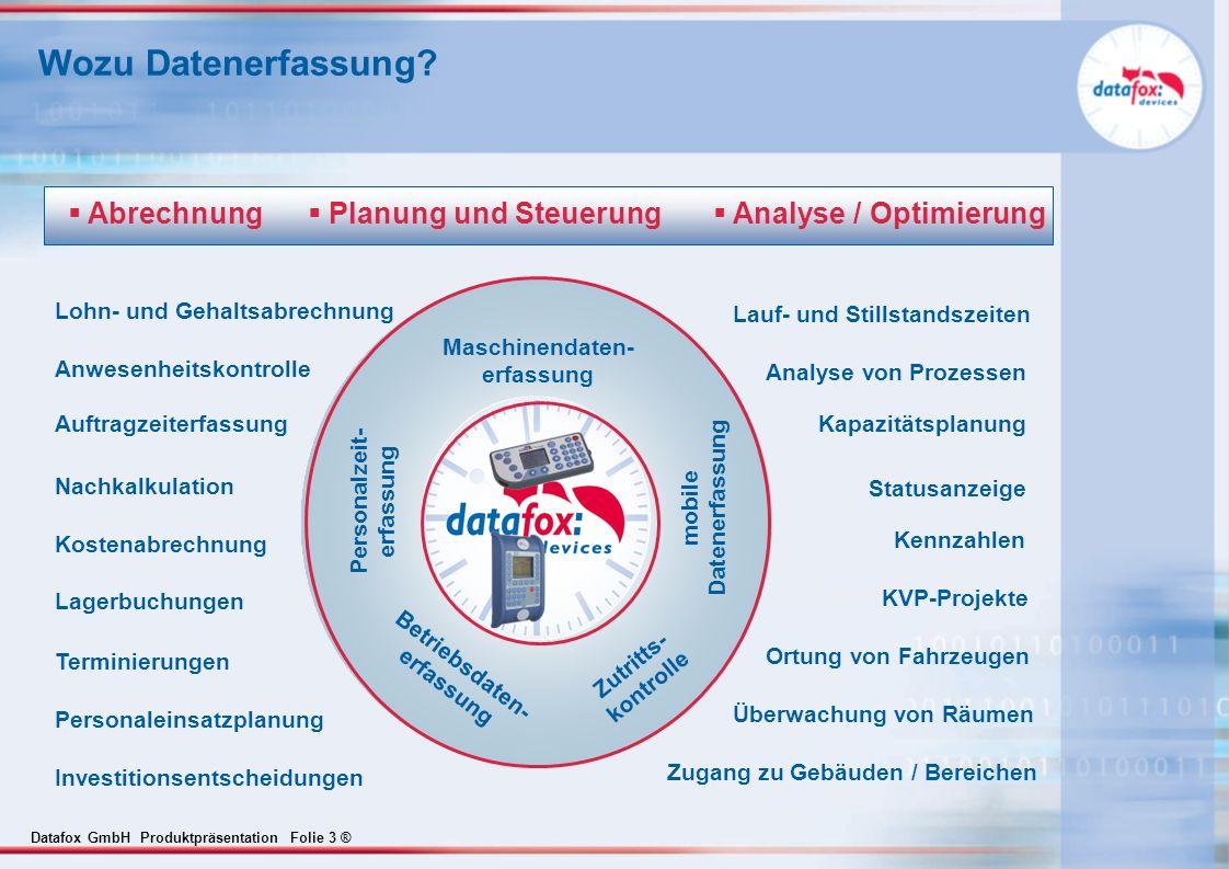 Datafox GmbH Produktpräsentation Folie 3 ® Wozu Datenerfassung? Zutritts- kontrolle mobile Datenerfassung Maschinendaten- erfassung Personalzeit- erfa