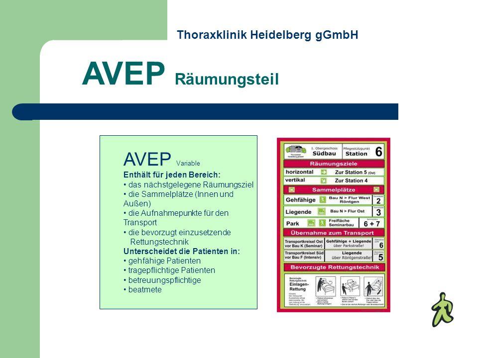 AVEP Variable Enthält für jeden Bereich: das nächstgelegene Räumungsziel die Sammelplätze (Innen und Außen) die Aufnahmepunkte für den Transport die b