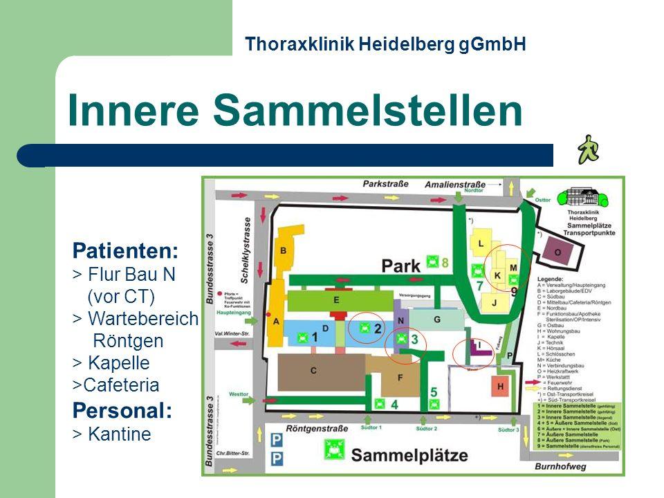 Patienten: > Flur Bau N (vor CT) > Wartebereich Röntgen > Kapelle >Cafeteria Personal: > Kantine Innere Sammelstellen Thoraxklinik Heidelberg gGmbH