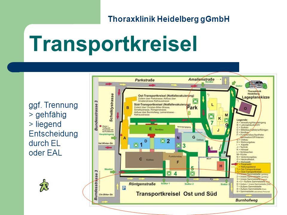 ggf. Trennung > gehfähig > liegend Entscheidung durch EL oder EAL Transportkreisel Thoraxklinik Heidelberg gGmbH