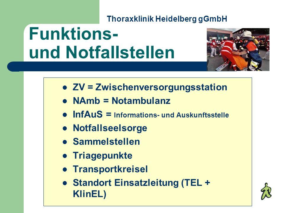 Funktions- und Notfallstellen ZV = Zwischenversorgungsstation NAmb = Notambulanz InfAuS = Informations- und Auskunftsstelle Notfallseelsorge Sammelste