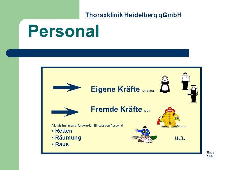 Alle Maßnahmen erfordern den Einsatz von Personal ! Retten Räumung Raus Eigene Kräfte (Krankenhaus) Fremde Kräfte (BOS) Haag 11/00 u.a. Personal Thora