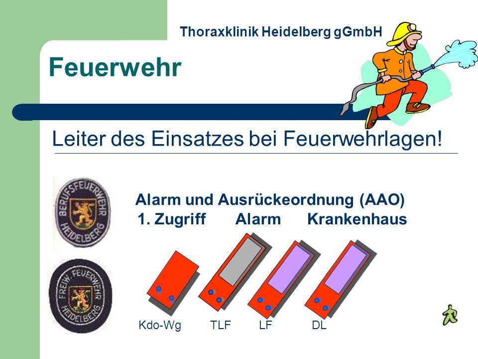 Feuerwehr Alarm und Ausrückeordnung (AAO) 1. Zugriff Alarm Krankenhaus Kdo-WgTLFLFDL Thoraxklinik Heidelberg gGmbH Leiter des Einsatzes bei Feuerwehrl