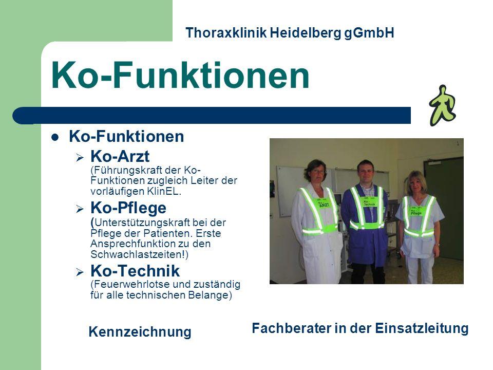 Ko-Arzt (Führungskraft der Ko- Funktionen zugleich Leiter der vorläufigen KlinEL. Ko-Pflege ( Unterstützungskraft bei der Pflege der Patienten. Erste