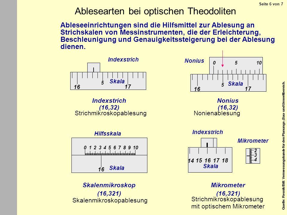 Quelle: Resnik/Bill: Vermessungskunde für den Planungs-,Bau- und Umweltbereich. 16 105012346789 Skala Hilfsskala Skalenmikroskop 1715 14 18 Mikrometer