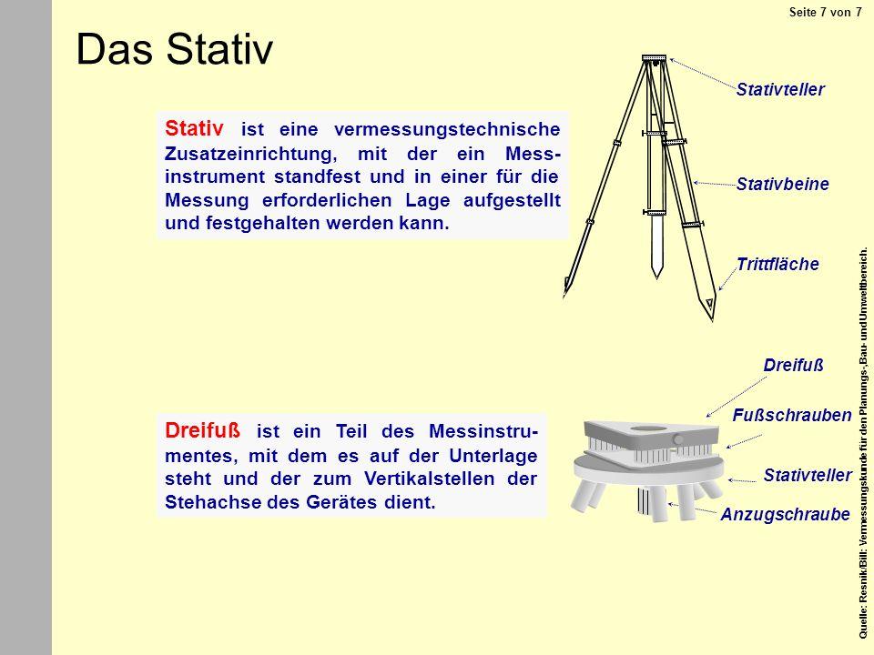 Quelle: Resnik/Bill: Vermessungskunde für den Planungs-,Bau- und Umweltbereich. Stativteller Stativbeine Trittfläche Stativ ist eine vermessungstechni