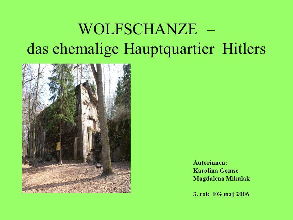 WOLFSCHANZE – das ehemalige Hauptquartier Hitlers Wald Görlitz, etwa 8 km östlich von Rastenburg (Kętrzyn), in Gebiet der grossen Masurischen Seen in Ostpreuβen lokalisiert; Wolfsschanze – Wolfsredoute, Wolfsfort; Der Bau wurde im frühen Herbst 1940 begonnen;