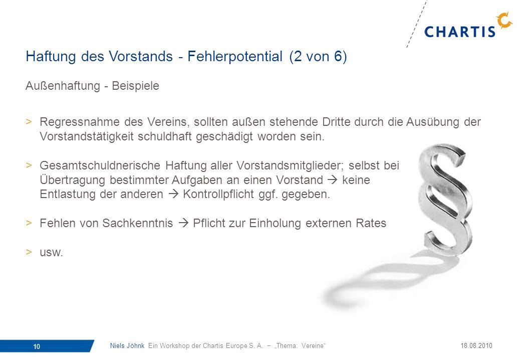 Niels Jöhnk Ein Workshop der Chartis Europe S. A. Thema: Vereine 10 18.08.2010 Außenhaftung - Beispiele >Regressnahme des Vereins, sollten außen stehe