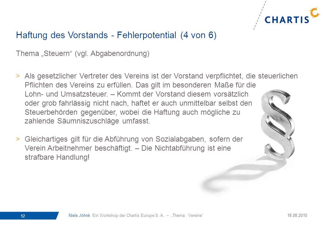 Niels Jöhnk Ein Workshop der Chartis Europe S. A. Thema: Vereine 12 18.08.2010 Thema Steuern (vgl. Abgabenordnung) >Als gesetzlicher Vertreter des Ver