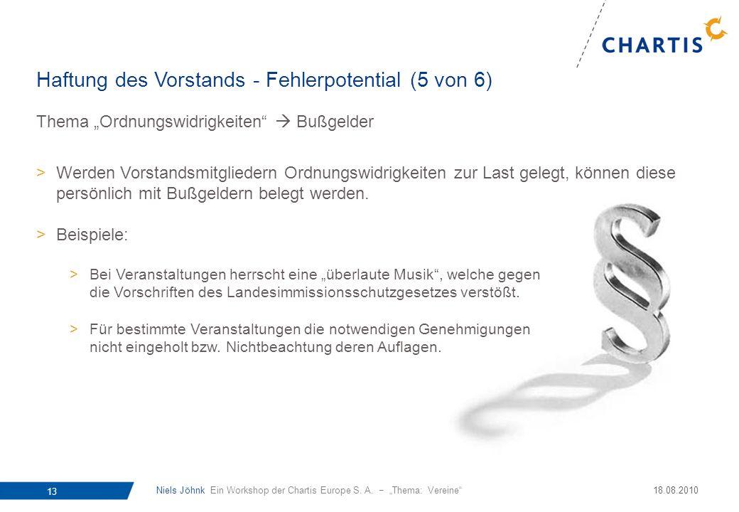 Niels Jöhnk Ein Workshop der Chartis Europe S. A. Thema: Vereine 13 18.08.2010 Thema Ordnungswidrigkeiten Bußgelder >Werden Vorstandsmitgliedern Ordnu