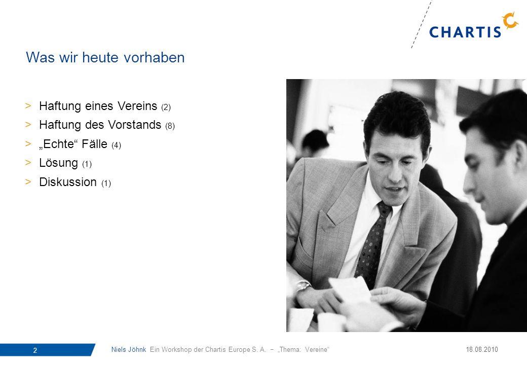Niels Jöhnk Ein Workshop der Chartis Europe S. A. Thema: Vereine 2 18.08.2010 Was wir heute vorhaben >Haftung eines Vereins (2) >Haftung des Vorstands