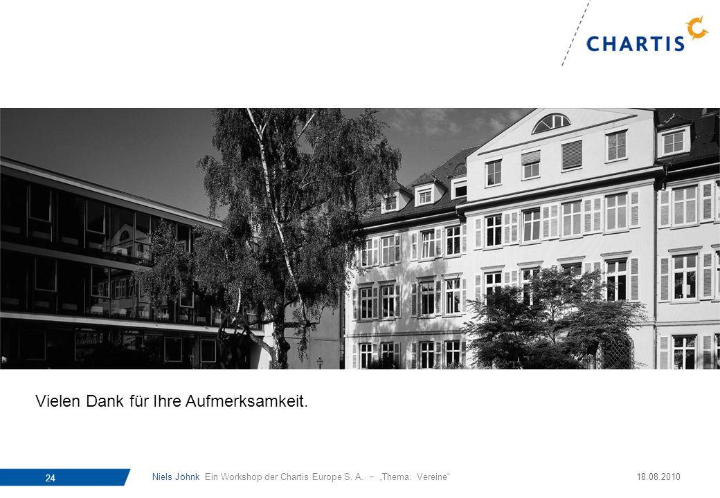 Niels Jöhnk Ein Workshop der Chartis Europe S. A. Thema: Vereine 24 18.08.2010 Vielen Dank für Ihre Aufmerksamkeit.