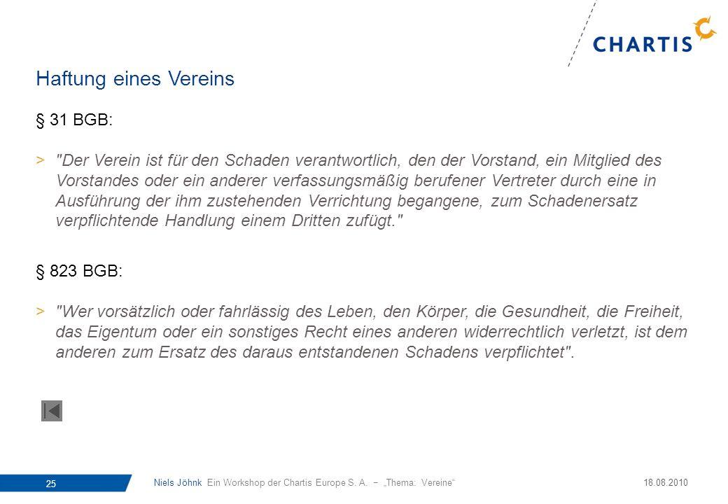Niels Jöhnk Ein Workshop der Chartis Europe S. A. Thema: Vereine 25 18.08.2010 § 31 BGB: >