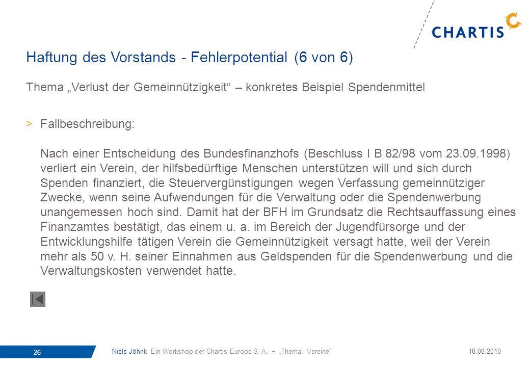 Niels Jöhnk Ein Workshop der Chartis Europe S. A. Thema: Vereine 26 18.08.2010 Thema Verlust der Gemeinnützigkeit – konkretes Beispiel Spendenmittel >