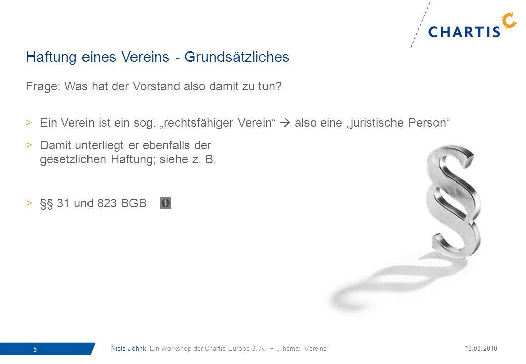 Niels Jöhnk Ein Workshop der Chartis Europe S. A. Thema: Vereine 5 18.08.2010 Frage: Was hat der Vorstand also damit zu tun? >Ein Verein ist ein sog.