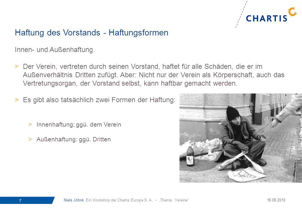 Niels Jöhnk Ein Workshop der Chartis Europe S. A. Thema: Vereine 7 18.08.2010 Innen- und Außenhaftung >Der Verein, vertreten durch seinen Vorstand, ha