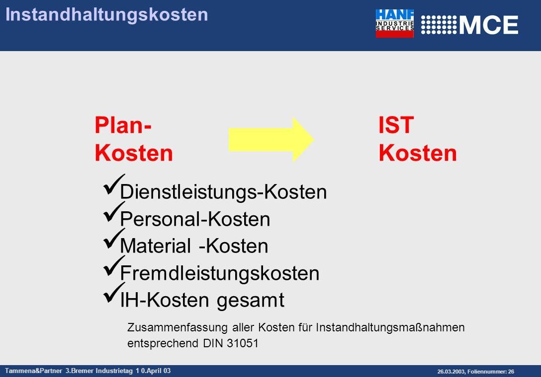 Tammena&Partner 3.Bremer Industrietag 1 0.April 03 26.03.2003, Foliennummer: 26 Instandhaltungskosten Dienstleistungs-Kosten Personal-Kosten Material