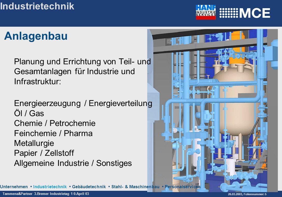 Tammena&Partner 3.Bremer Industrietag 1 0.April 03 26.03.2003, Foliennummer: 5 Unternehmen Industrietechnik Gebäudetechnik Stahl- & Maschinenbau Perso