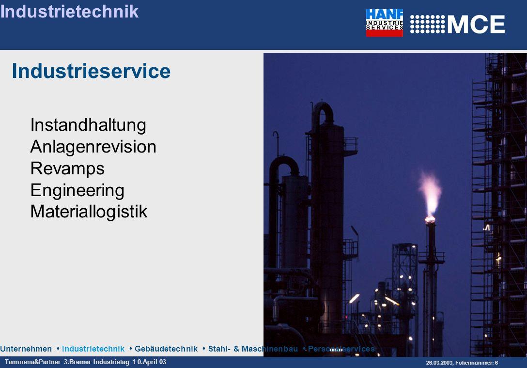 Tammena&Partner 3.Bremer Industrietag 1 0.April 03 26.03.2003, Foliennummer: 6 Unternehmen Industrietechnik Gebäudetechnik Stahl- & Maschinenbau Perso