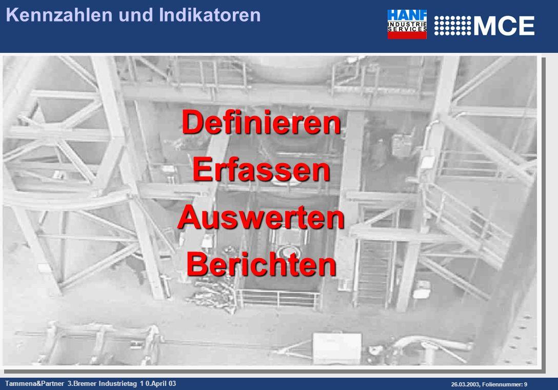 Tammena&Partner 3.Bremer Industrietag 1 0.April 03 26.03.2003, Foliennummer: 9 Kennzahlen und IndikatorenDefinierenErfassenAuswertenBerichten