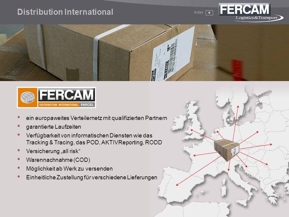 Distribution International Index ein europaweites Verteilernetz mit qualifizierten Partnern garantierte Laufzeiten Verfügbarkeit von informatischen Di